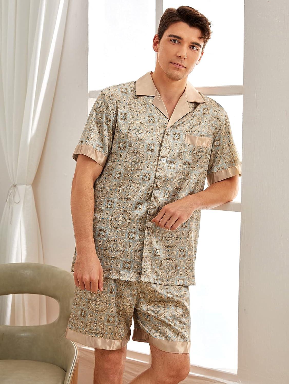 Romwe Men's Satin Silk Pajama Set Short Sleeve Button Down Shirt and Shorts Sleepwear
