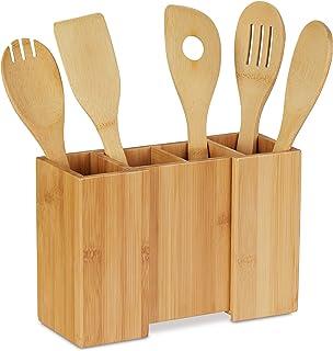 Relaxdays 10028817 Support à ustensiles de Cuisine en Bambou, Lot de 5 cuillères, Rangement séparable, 17 x 25 x 10 cm, Na...