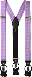 Jacob Alexander Men's Polka Dot Y-Back Suspenders Braces Convertible Leather Ends and Clips