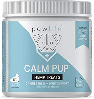pawlife Hemp Calming Treats for Dogs Plus Glucosamine - Hemp Oil Infused Soft Chews for Dog Anxiety Relief and Joint Support - 120 Dog Calming Treats