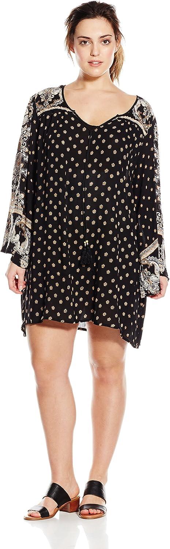 Angie Juniors' PlusSize Black Printed BellSleeve Dress