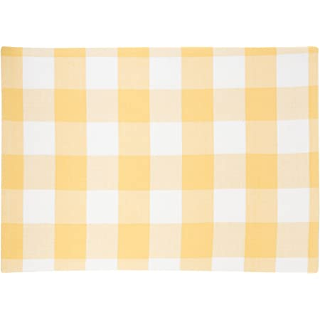 C F Home Franklin 13 X 19 Buffalo Check Gingham Plaid Woven Sunrise Yellow White Spring Summer Single Cotton Tabletop Cotton Placemat Rectangular Placemat Sunrise Yellow Home Kitchen