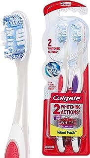 Colgate 360° Optic White Platinum Medium Manual Toothbrush, 2 Pack