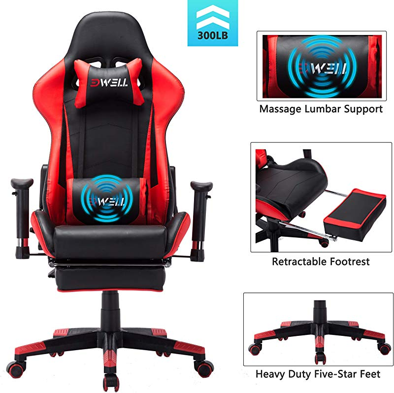 EDWELL Computer Gaming Chair Height Adjustable Swivel PC Gaming Chair With Retractable Footrest Headrest And Lumbar Massager Cushion Support Leather Reclining Executive Office Chair Red