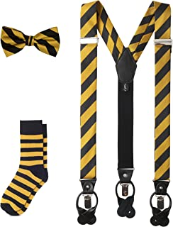 Matching College Stripe Suspenders Dress Socks and Bow Tie