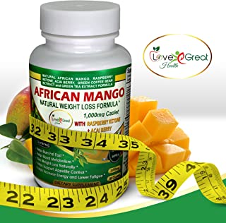 African Mango Natural Weight Loss Formula 1000MG 60 Caplets Helps Leptin Levels - Raspberry Ketones Acai Berry Green Tea - Helps Women and Men Lose Weight Burn Fat Fast, No Side Effects - Made in USA