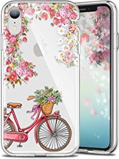 LUMARKE iPhone XR Cases,iPhone Xr Clear Case with Design for Girls Women,Soft Rubber Silicone Cover Protective Phone Case for iPhone XR[6.1 inch] Cute Floral and Bicycle