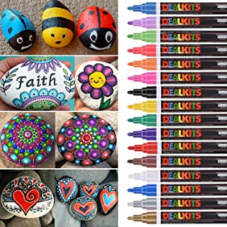 DealKits 16 Colors Paint Marker Pens for Rock Painting [Oil-Based] [Quick Dry] [Water Resistant] for Art Rock Painting Wood Glass Metal and Ceramic, Medium Tip …