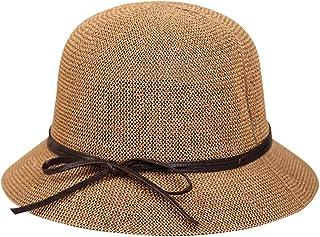 AIEOE Sombrero de Paja para Mujeres Gorro Transpirable con ala Ancha Protección Solar Ligero Elegante