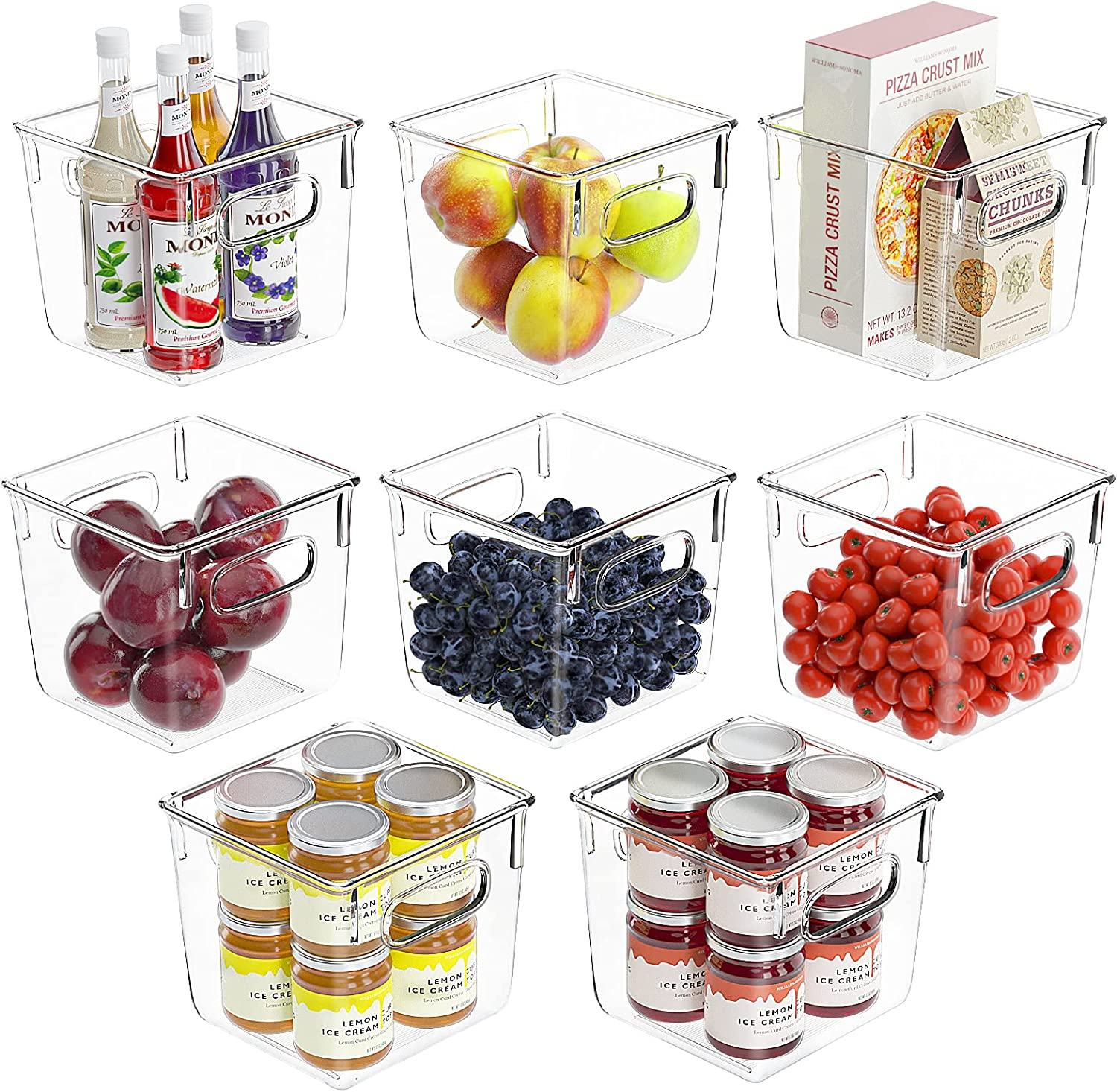 Huolewa Set sold out Of 8 Pantry Free shipping New with Organizer H Refrigerator Bins