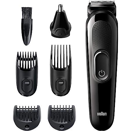 Braun 6 en 1 recortador de barba para orejas y nariz, cortadora de pelo inalámbrico y recargable, para hombres, color negro