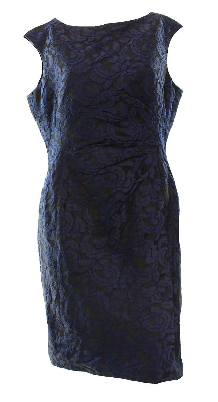 Lauren Ralph Laurenレディースcap-sleeve boat-neckジャカードシースドレス、ブラック/ブルー、14