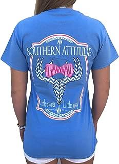 Southern Attitude Sassy Chevron Deer Bow Tie Carolina Blue Short Sleeve Shirt