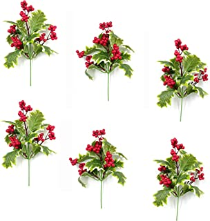 M2cbridge Pack of 6 Christmas Red Berries Artificial Holiday Floral Picks Ornaments