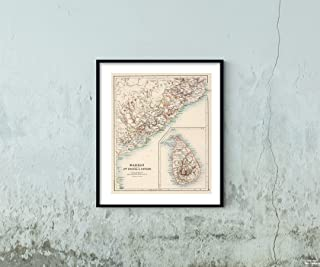 Map|12: Madras (North), South Orissa and Ceylon 1894|Historic Antique Vintage Reprint|Size: 20x24|Ready to Frame