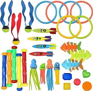 JOYIN 30 Pcs Diving Pool Toys Jumbo Set Includes (5) Diving Sticks, (6) Diving Rings, (5) Pirate Treasures, (4) Toypedo Bandits, (3) Diving Toy Balls, (3) Fish Toys, (4) Stringy Octopus