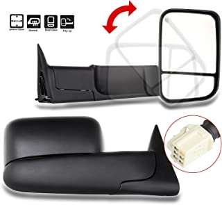 SCITOO Power Heated Towing Mirrors 98-01 fit Dodge Ram 1500 98-02 Ram 2500 3500 Truck Black Rear View Side View Mirror Tow Pair Set