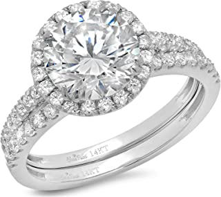 Clara Pucci 2.92 Ct Round Cut Pave Double Halo Engagement Promise Wedding Bridal Anniversary Ring Band Set 14K White Gold
