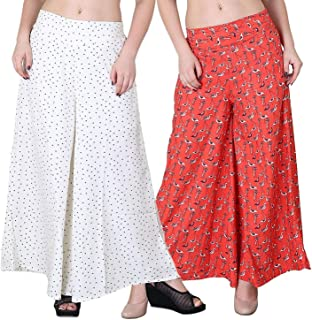 Fraulein Women's/Girl's Palazzos Printed Crepe Flared Sharara Style Palazzos/Trousers with One Pocket and Mesh Inner Linin...