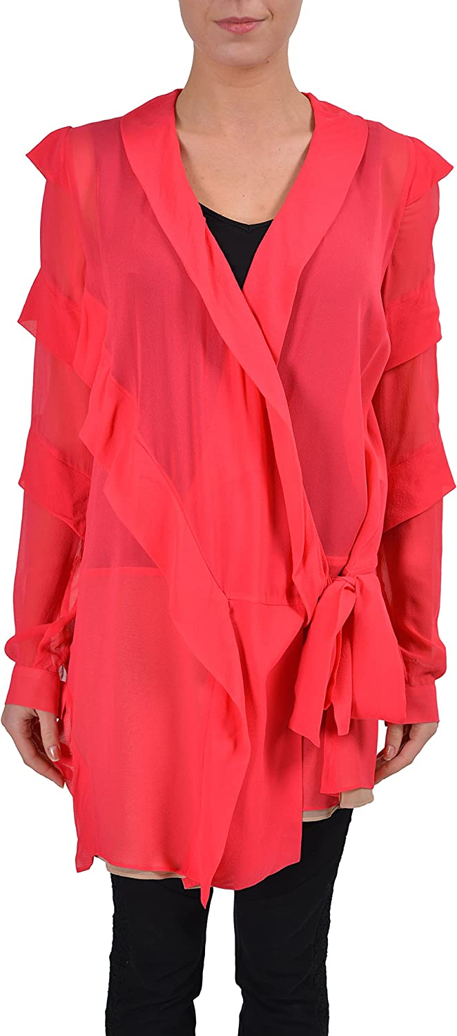 Just Cavalli Women's Silk Pink Wrap Long Sleeve Blouse US S IT 40