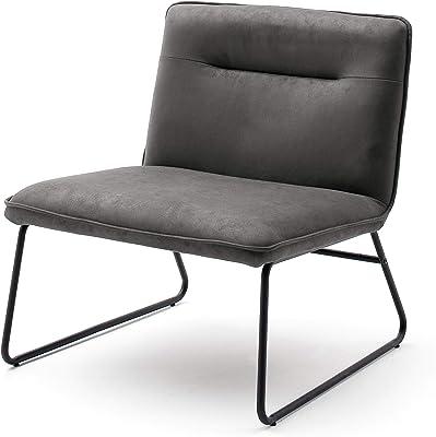 Farbe:gr/ün CLP Esszimmerstuhl Cassidy mit Kunstlederbezug und sesself/örmigem Sitz I Retrostuhl mit Armlehne Gestell Farbe:Grau