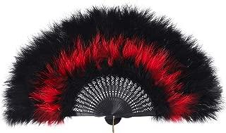 ArtiDeco Damen Fächer Marabou Feder 1920s Vintage Stil Retro Handfächer Damen Gatsby Kostüm Flapper Zubehör Schwarzer Griff - Schwarz Rot