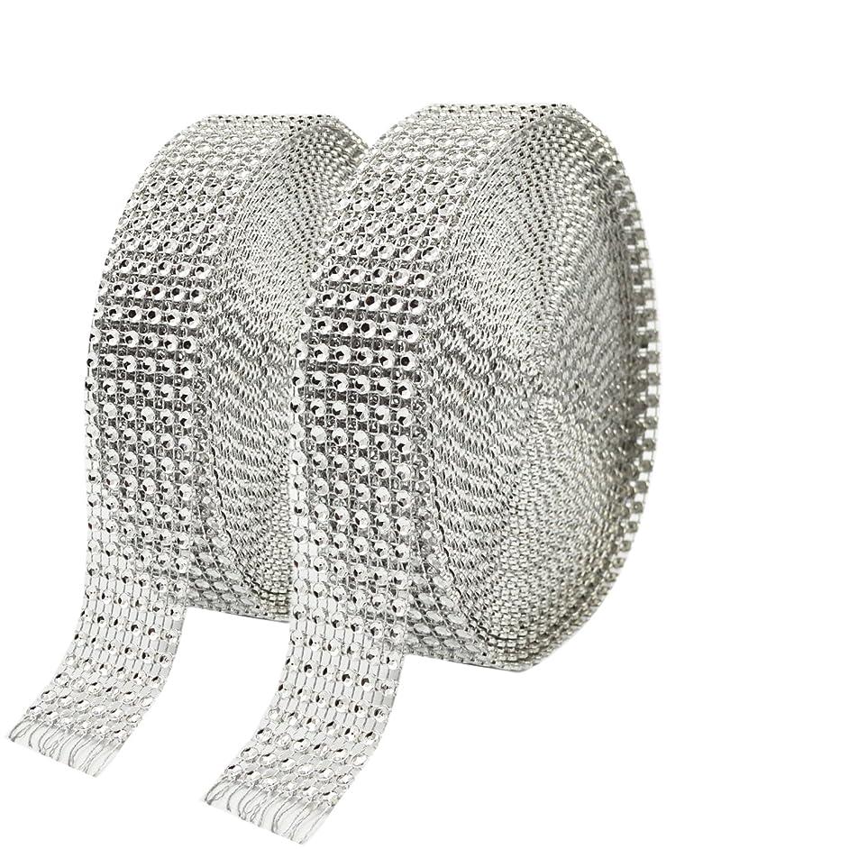 Metable 2 Rolls 6 Row 10 Yard/Roll Acrylic Rhinestone Diamond Ribbons Sparkling Mesh Ribbon for Wedding Cakes DIY Arts Crafts Decorations