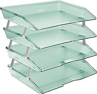 Acrimet Facility 4 Tier Letter Tray Side Load Plastic Desktop File Organizer (Clear Green Color)
