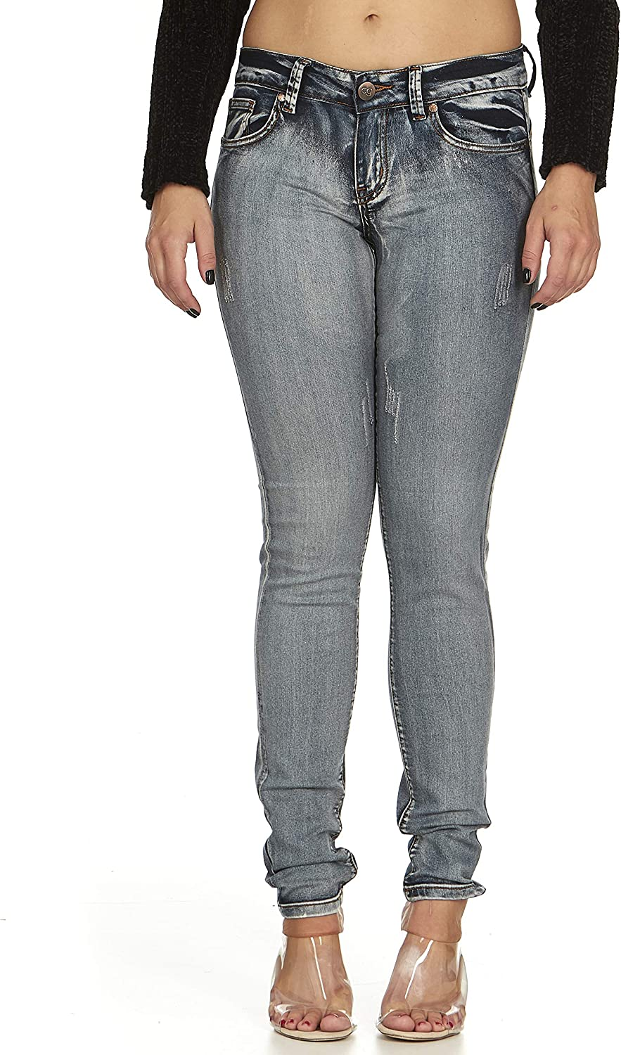 COVER GIRL Women's Five Pocket Classic Blue Wash Slim Fit Skinny
