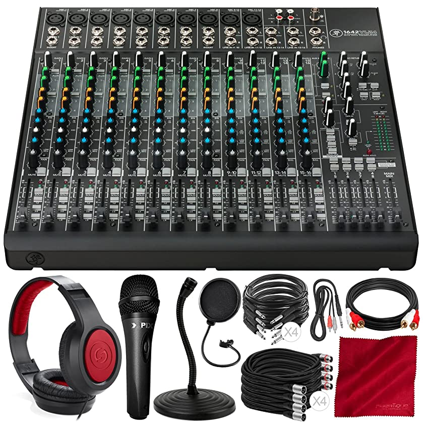 Mackie 1642VLZ4 16-Channel 4-Bus Compact Mixer Bundled with Samson Closed-Back Headphones, Xpix Studio Microphone, Mic Stand & Filter, and Deluxe Bundle