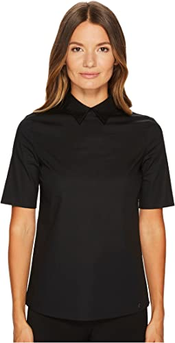 Cotton Poplin Short Sleeve Collared Shirt