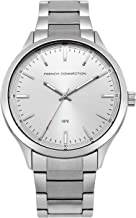 French Connection Men's Analog-Quartz Watch with Stainless-Steel Strap, Silver, 19 (Model: FC1287SM)