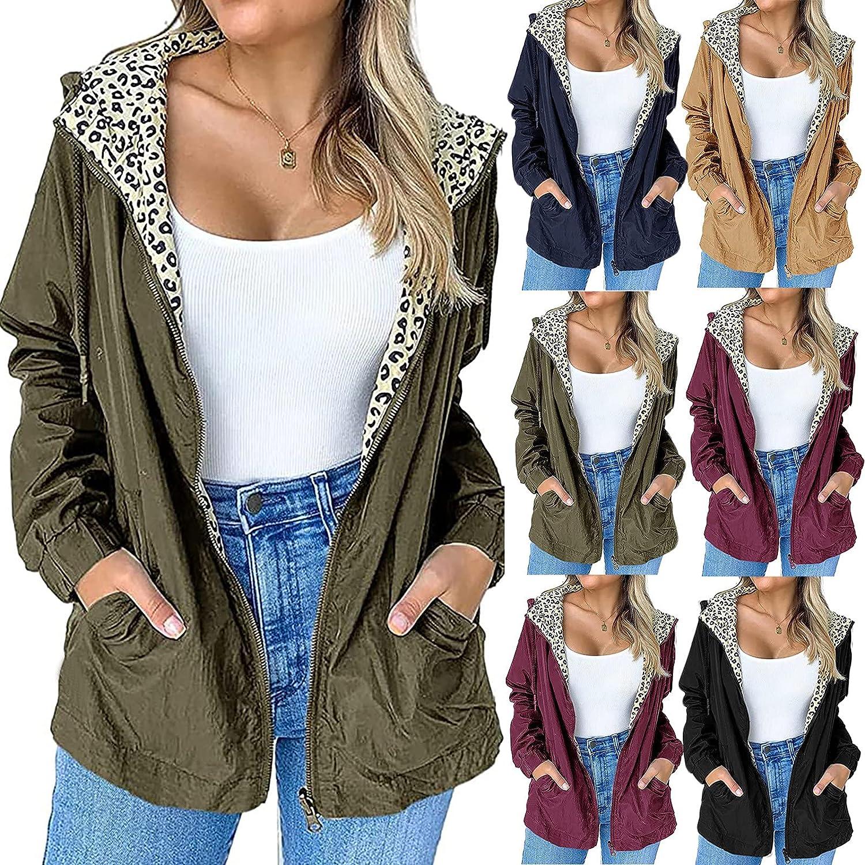YQRDSHJS Plus Size Womens Lightweight Anorak Coat Outdoor Waterproof Zip Up Hooded Windproof Coat Casual Jackets Blouse Tops