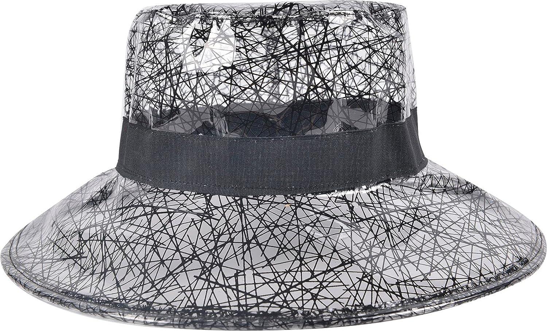 Cherrain Rain Hat Women Waterproof Rainhat PVC Transparent Wide Brim Bucket Hat Fashion Rain Cap at  Women's Clothing store