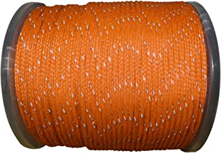 Hollow Braid Polyethylene Rope (1/4 inch) - SGT KNOTS - 100% High-Grade Polyethylene Cord with Reflective Tracers - Path Marking, Ski Slopes, Outdoor Concerts, Crafting (100 feet - Coil - Orange)