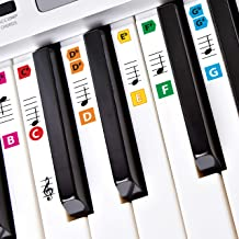 Best Adhesive Color Piano Key Note Keyboard Stickers for Adults & Children's Lessons, FREE E-BOOK, Great for Beginners Sheet Music Books, Recommended by Teachers to Learn to Play Keys & Notes Faster