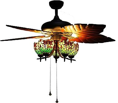 "Makenier Vintage Tiffany Stained Glass Green Dragonfly Uplight 52"" Ceiling Fan Light Kit"