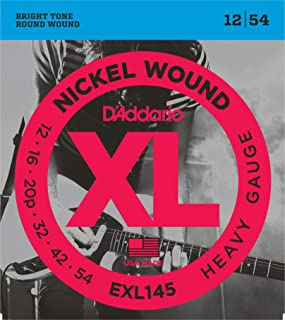 D'Addario XL Nickel Wound Electric Guitar Strings, Heavy Gauge – Round Wound with Nickel-Plated Steel for Long Lasting Distinctive Bright Tone and Excellent Intonation – 12-54, 1 Set