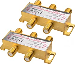 Cable Matters 2-Pack Bi-Directional 2.4 Ghz 4 Way Coaxial Cable Splitter for STB TV, Antenna and MoCA Network - All Port Power Passing - Gold Plated and Corrosion Resistant