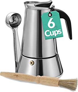 Cafetera Italiana para 6 Tazas - Con Pincel de Limpieza y Cuchara Dosificadora - Apta para Inducción - Acero inoxidable