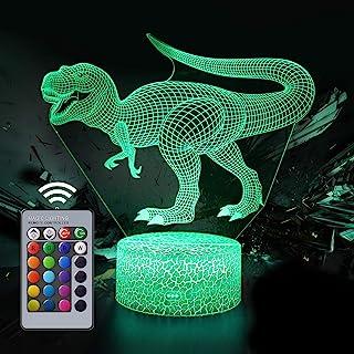 Dinosaurio Luz Nocturna Infantil, Juguete Dinosaurio para chicos, 16 Cambio de Color Lámpara de Noche de Ilusión óptica 3D, Dormitorio Decoración Regalo de Cumpleaños para Niños