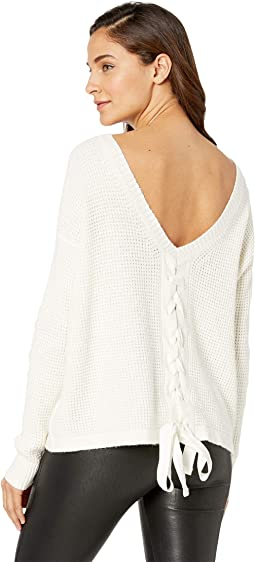 Waffle Stitch V-Back Lace-Up Sweater