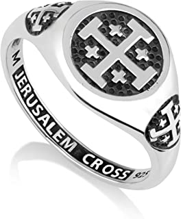 Marina Meiri 925 Sterling Silver Signet Ring, Womens or Mens, Engraved Jerusalem Cross (See Size Options)