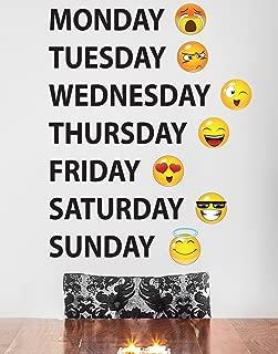 Days of The Week Emoji Faces Vinyl Wall Decal Sticker #6071B 40in X 31in (Black)