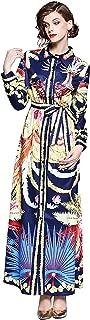 Women's Collared Floral Print Maxi Dress Long Sleeves Button up Long Shirt Dress