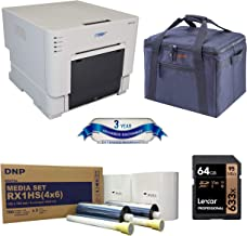 DNP DS-RX1HS Compact Event Photo Booth Portrait Dye-Sublimation Printer Bundle Print Media 4x6-inch, 2 Rolls + Slinger Padded Printer Carrying Case + 64GB SD Card + 3 Year Extended Warranty