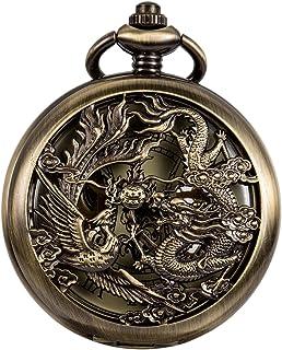 WENSHIDA عتیقه ساعت جیبی اژدها و الگوی ققنوس با زنجیره ای مردانه برنز مکانیکی + جعبه هدیه