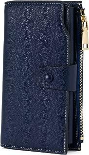 WOZEAH Women's RFID Blocking Large Capacity Luxury Wax PU Leather Clutch Wallet Card Holder Organizer Ladies Purse