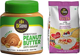 DiSano All Natural Peanut Butter, Creamy, 30% Protein, Unsweetened, Gluten Free, 1 Kg + Disano High in Protein and Fibre O...