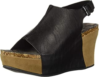 Pierre Dumas Womens Hester-14 Faux Leather Fashion Slingback Wedge Sandals